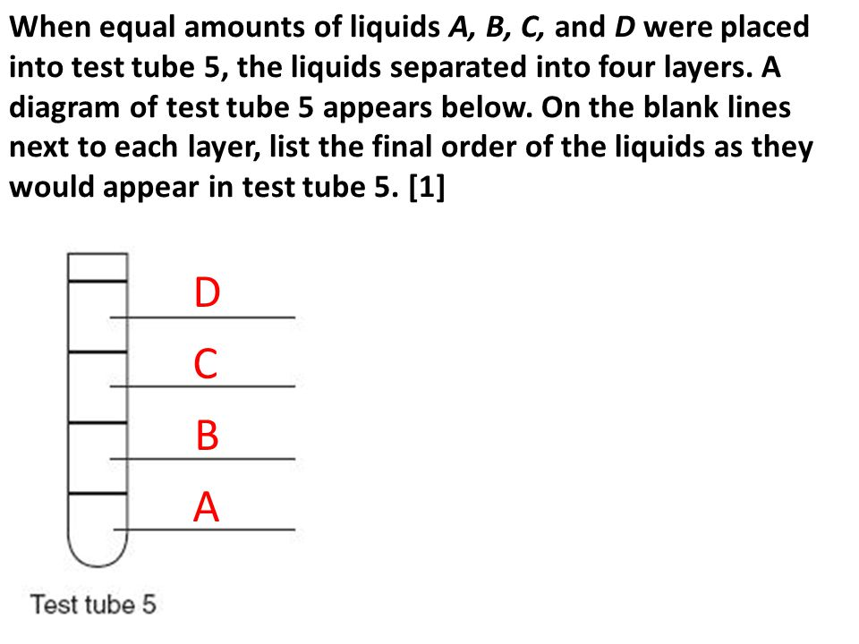 When equal amounts of liquids A, B, C, and D were placed into test tube 5, the liquids separated into four layers. A diagram of test tube 5 appears below. On the blank lines next to each layer, list the final order of the liquids as they would appear in test tube 5. [1]